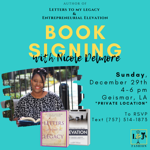 L&J Fashions Book Signing Event Flyer