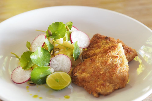 Free Range Crispy Chicken with Potato-Cucumber Salad