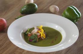 Green Tomato Gazpacho with Prawn