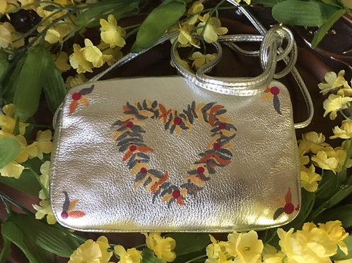 HOLLY: silver metallic leather mini purse