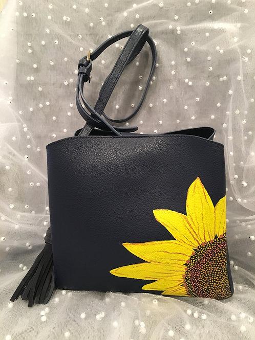 KIM: navy vegan leather handbag