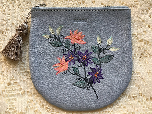 YERI: blue leather coin pouch