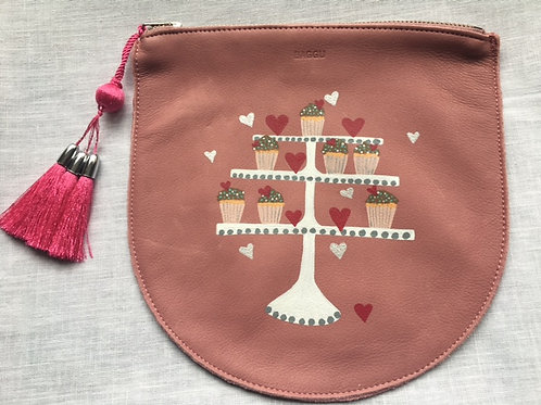MINDY: pink leather pouch