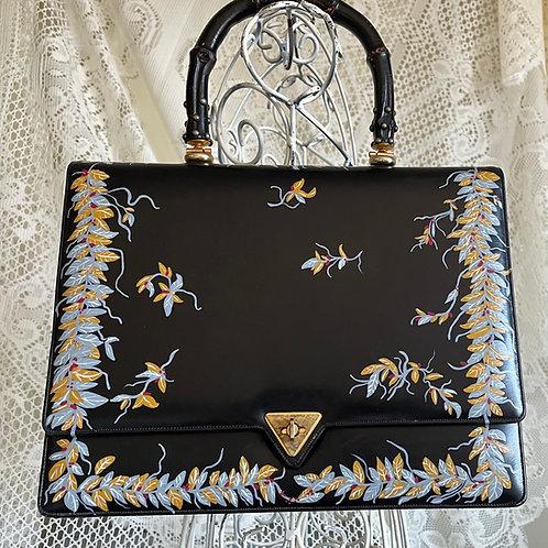 ESTELLE ~Vintage IGOR Handbag with unique Bamboo Handle