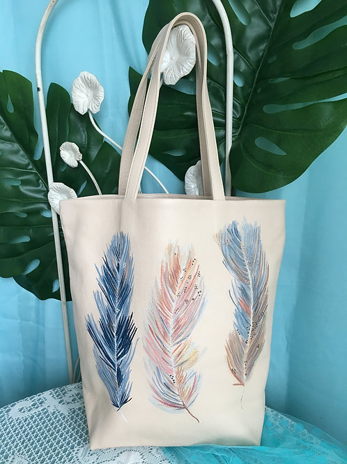 THIA: ivory leather tote