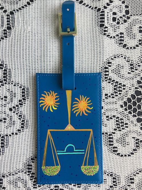 ZODIAC leather luggage tag:LIBRA