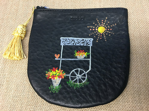 STACIE: black leather coin pouch