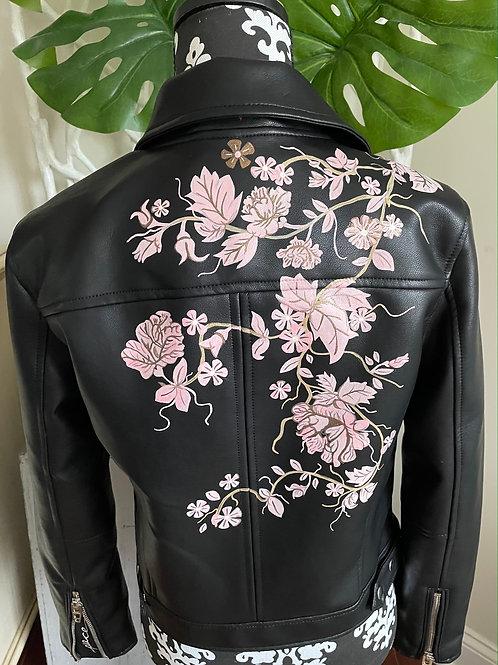 MELISSA ~ Hand Painted Vegan Leather Jacket