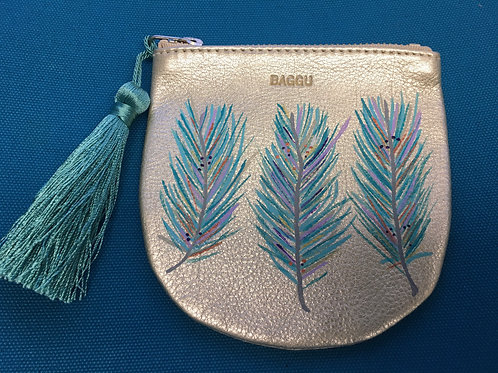 THIA: platinum leather coin pouch
