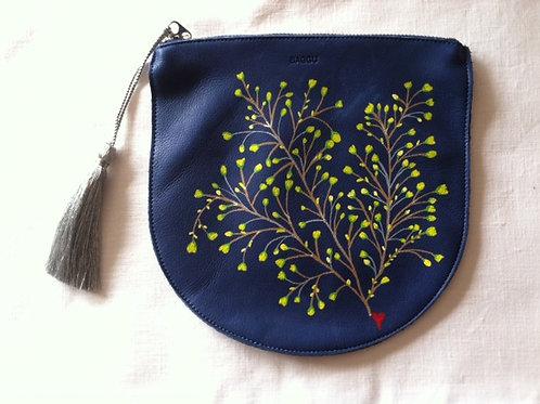 ELLA: blue leather pouch