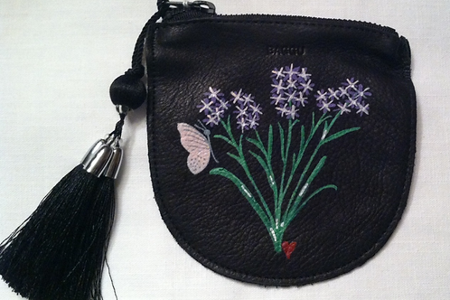 CANDACE: black leather coin pouch