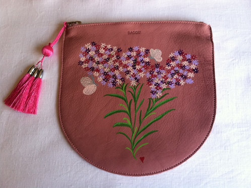 CANDACE: pink leather pouch