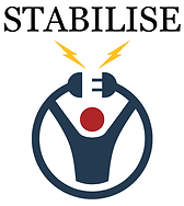 Image of a person waist upwards, as a simple depiction of a non-identifiable human in navy blue with a red circle head. The person is enclosed in a semi circle with the ends being held by the persons upward reaching arms. The top of the circle has a gap with each end depicting a power plug and socket. Two yellow lightning bolts are coming down on an angle towards the power plug and socket. The name Stabilise is written at the top in black.