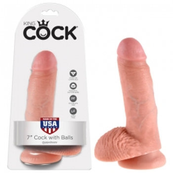KING COCK 7'' COCK WITH BALLS FLESH