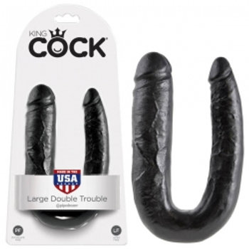 KING COCK U-SHAPED Black Large Double Penetrator D