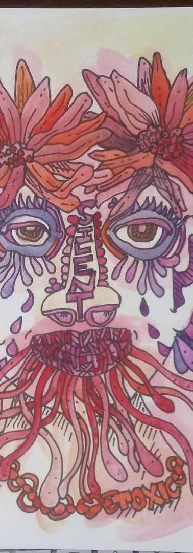 "Available - Figurative Illustration #2 Toxic illustration on board, 12x9"""
