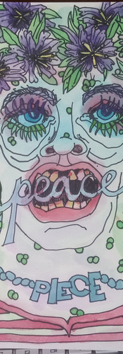 "Available - Figurative Illustration #3 Piece PEACE illustration on board, 12x9"""