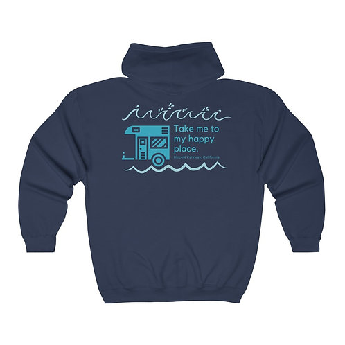 Rincon Teal Happy Place Unisex Heavy Blend™ Full Zip Hooded Sweatshirt (back)