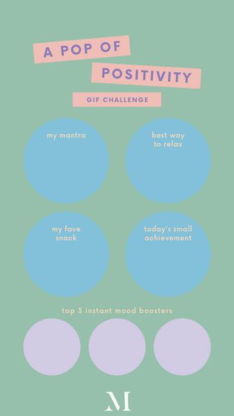 Yellow, Pink and Blue Minimalist Vibrant Get to Know Me GIF Emoji Challenge Instagram Quiz