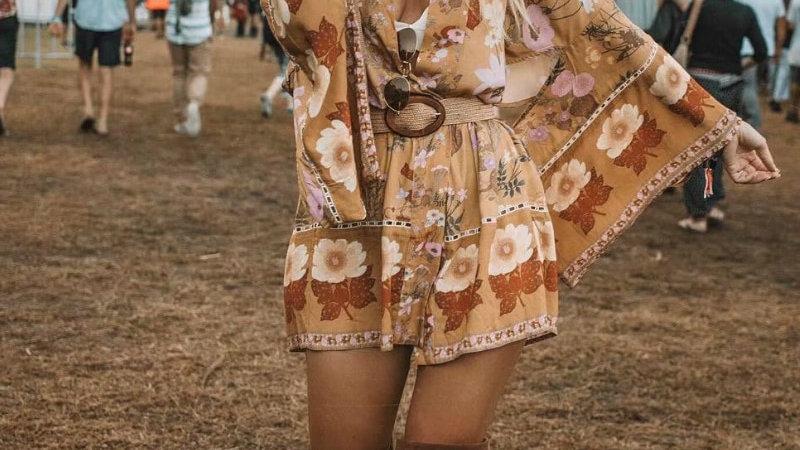 Vintage  Women Floral Sashes Bat Sleeve Bohemian Kimono Boho Dress Vestidos