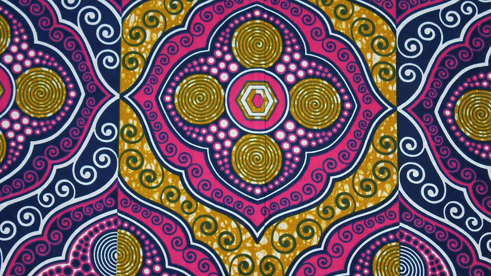 Ethnic Collection/Pink with Blue and Gold Designs
