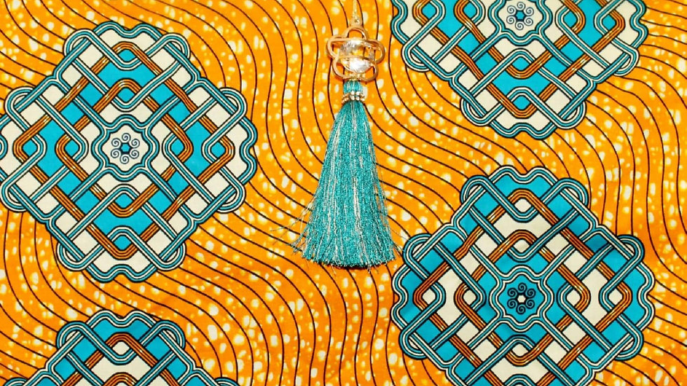 African Collection/Orange with Blue Designs