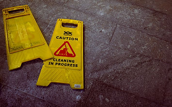 Caution and Cleaning in Progress