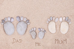 pairs feet (family)  made of a stone on