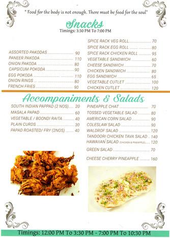 Snacks, Salads &Accompaniments