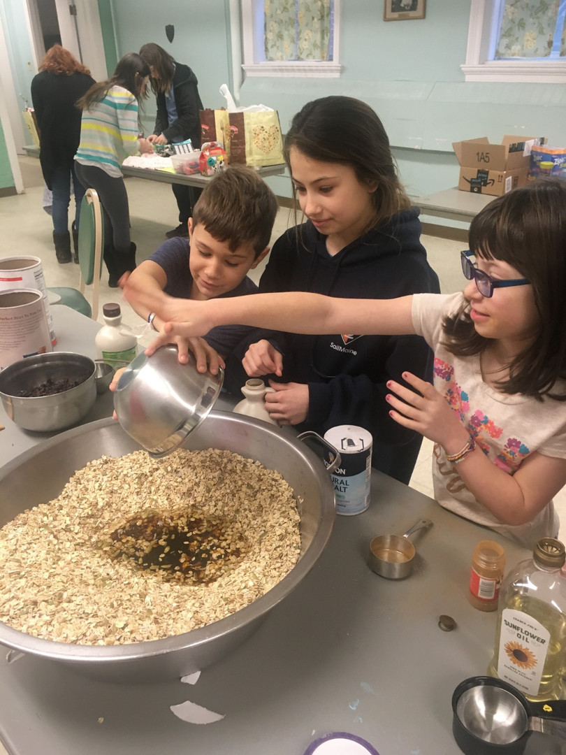 Granola making for a fundraiser
