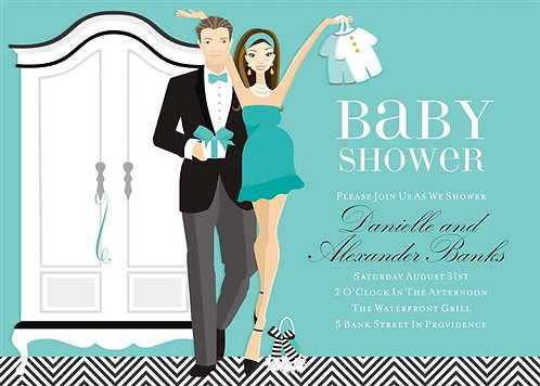 Blue Couples Let's Dress the Baby Shower Invitation