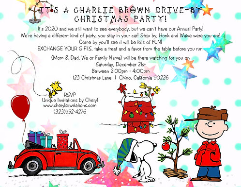 Charlie Brown Holiday Drive By Gift Exchange Invitation (sold in sets of 10)