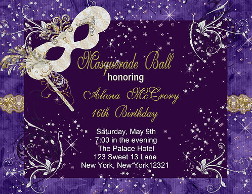 Masquerade Ball Party and  Event Invitation