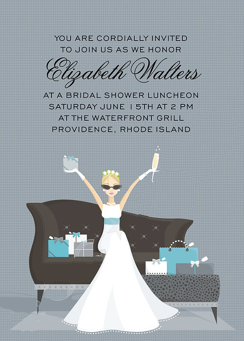 Bridal Couch with Gifts Bridal Shower and  Event Invitation