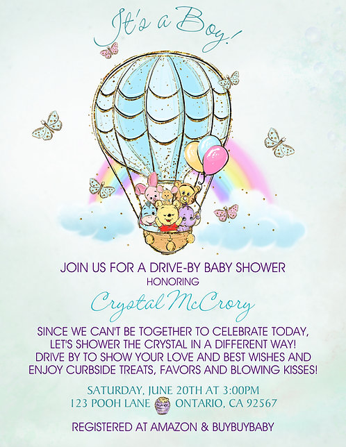 It's a Boy Pooh Rainbow Drive-By Baby Shower Invitations (sold in sets of 10)