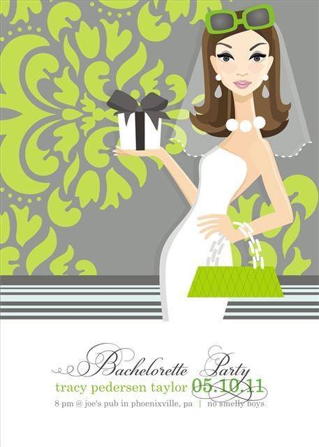 Brunette with Shower Gift Bridal Shower and  Event Invitation