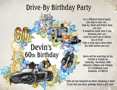 Men's Drive-By Wolf Birthday Invitation (sold in sets of 10)