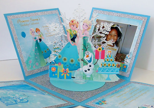 Frozen Elsa & Anna Snowflake Custom Exploding Box Invitation