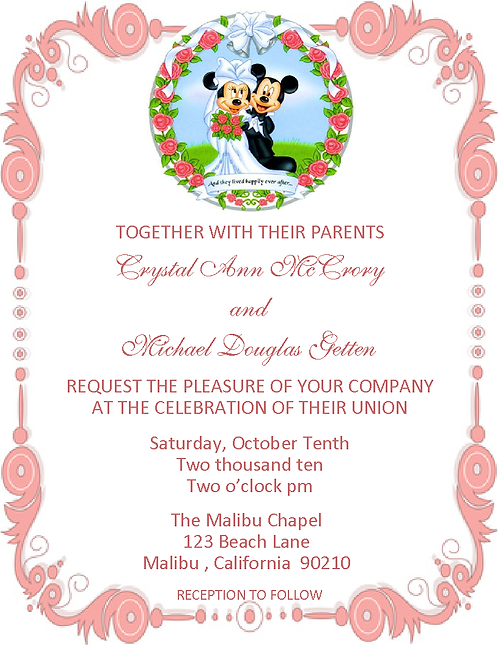 Mickey and Minnie Wedding / Event Invitation