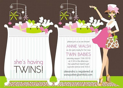 Pink Chic Crib Twins Mom Baby Shower Invitations