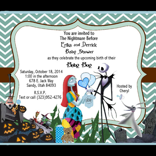 Girl baby shower invitations eventsunique invitations by cheryl nightmare before christmas baby shower invitation sold in sets of 10 filmwisefo