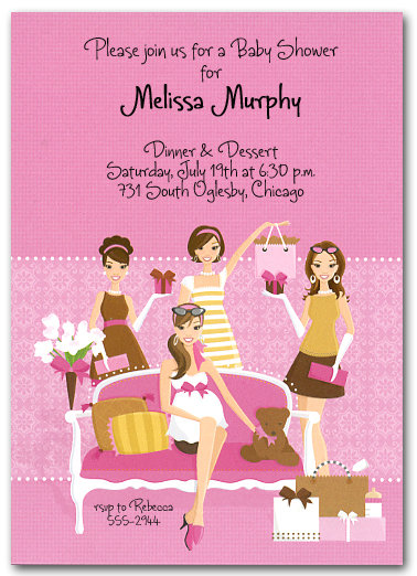 Pink Party Baby Shower Invitations
