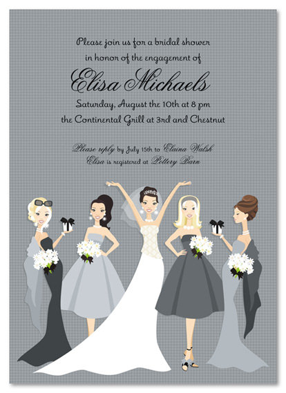 Grey Bella Bridesmaids Bridal Shower and  Event Invitation