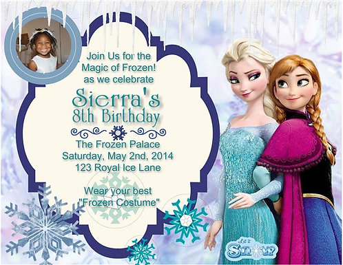 Elsa and Anna Frozen Birthday Party Keepsake Bottle Invitation