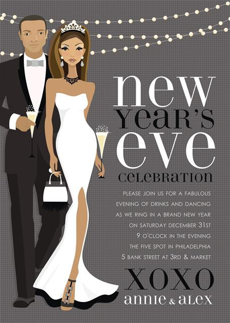 African American New Year's Lights Holiday Party and  Event Invitation