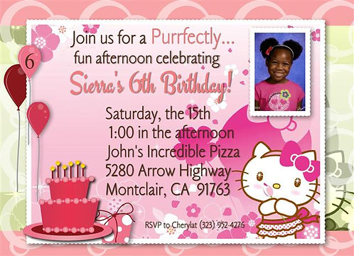 Hello Kitty Rhinestone Birthday Party Invitation