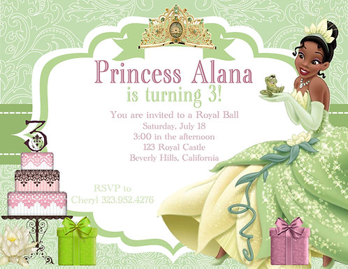 Princess Tiana Birthday Party and  Event Invitation (sold in sets of 10)