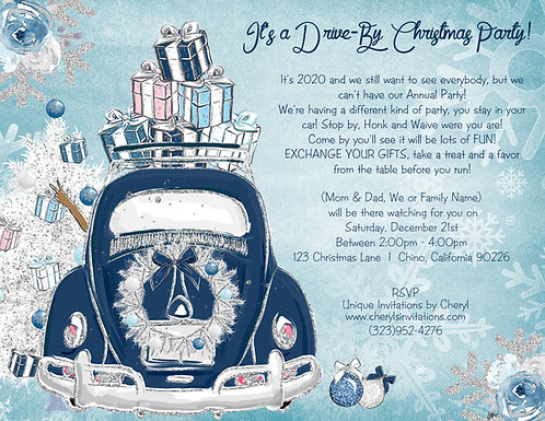 African American Radiant Blue Drive By Christmas Invitation (sold in sets of 10)