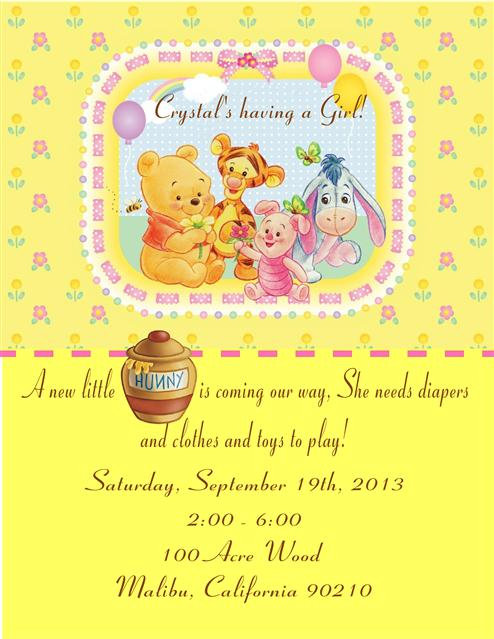 Baby Pooh Girl's Baby Shower Invitations