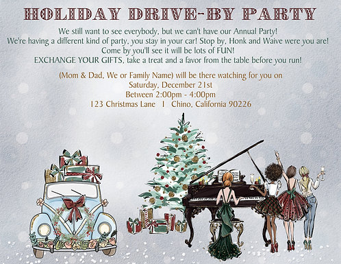 Holiday Drive By Party Invitation (sold in sets of 10)